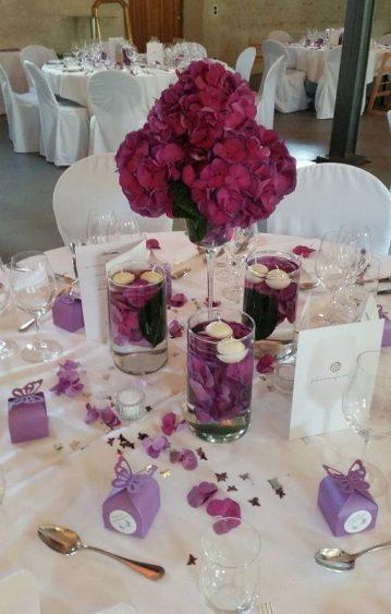 Tischdekoration-lila-Hortensien-Schwimmkerzen